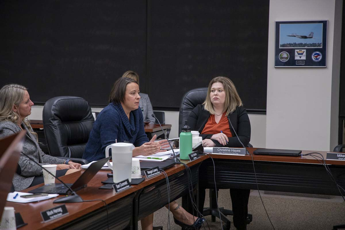 Battle Ground City Manager Erin Erdman explains what will happen between now and the city annexing into Fire District 3 starting in 2021. Photo by Chris Brown