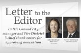 Letter: Battle Ground city manager and Fire District 3 chief thank voters for approving annexation