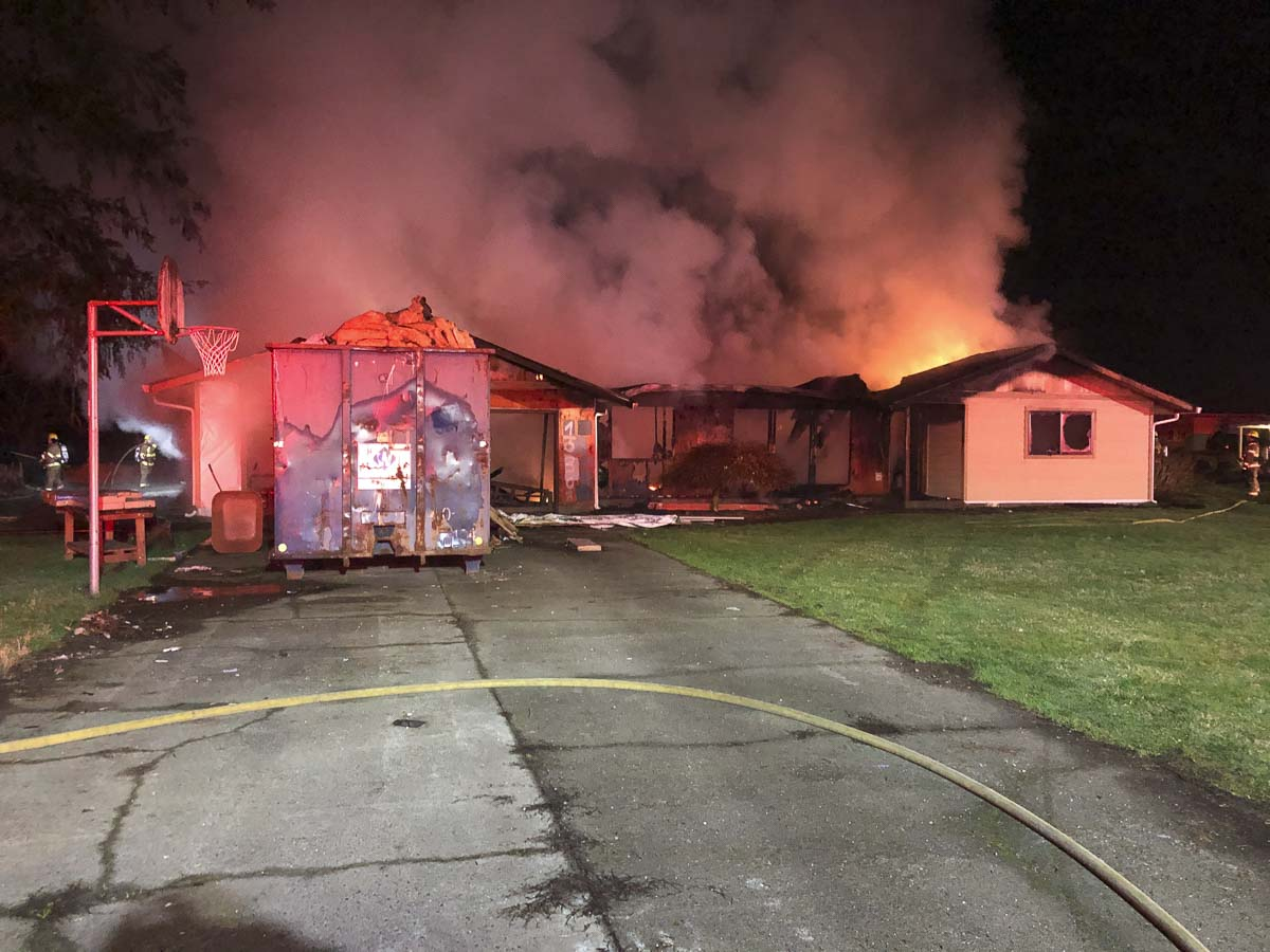 Neighbors reported that the house was being remodeled and no one was living there at the time of the fire. Photo courtesy of Clark County Fire & Rescue