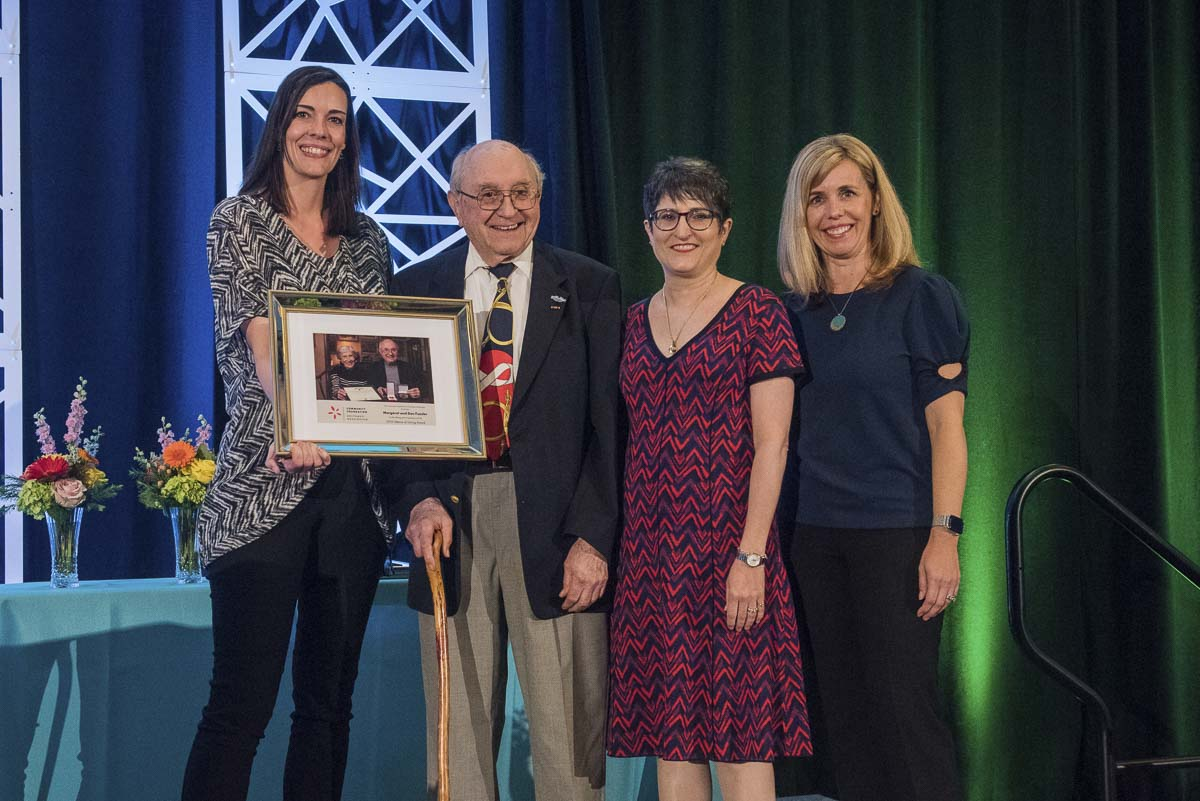 Sherrie Tinoco (left to right), director of development at Emergency Support Shelter, presents the 2019 Lifetime of Giving Award to Dr. Donald Fuesler of Longview. Fuesler's daughter Margretchen and Janie Spurgeon, vice president of Development at the Community Foundation for Southwest Washington. Photo courtesy of Community Foundation for Southwest Washington