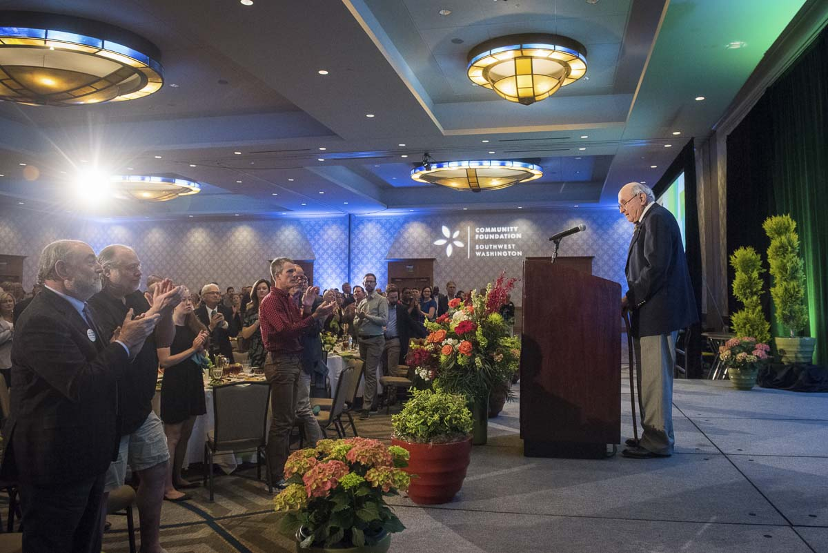 Dr. Donald Fuesler gives brief remarks from the stage after accepting the 2019 Lifetime of Giving Award on behalf of he and his wife Margaret Fuesler. Photo courtesy of Community Foundation for Southwest Washington