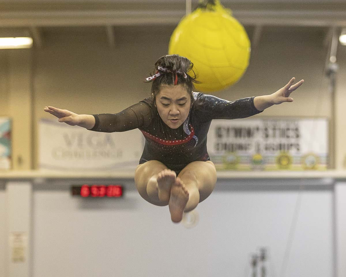 Alyssa Shibata of Camas, shown here earlier in the season, finished third in the state all-around competition. Photo by Mike Schultz