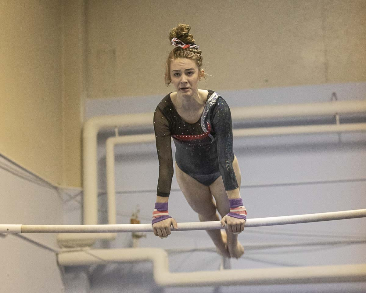 Shea McGee, of Camas High School, is the defending state champion in the Class 4A all-around competition. The 4A state gymnastics meet begins Friday in Bellevue. Photo by Mike Schultz