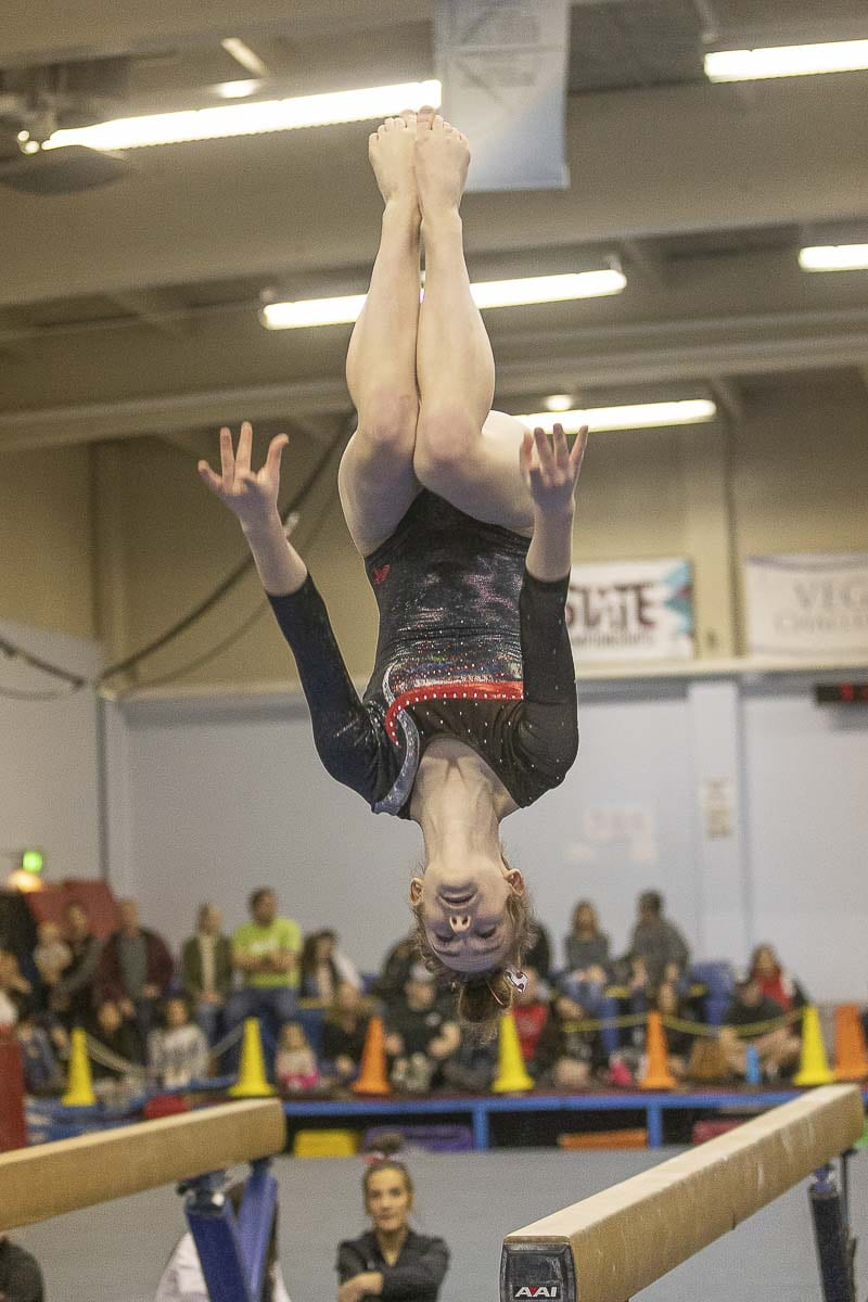 Shea McGee of Camas, shown here earlier this season, placed in all four individual events at the Class 4A state gymnastics meet. Photo by Mike Schultz
