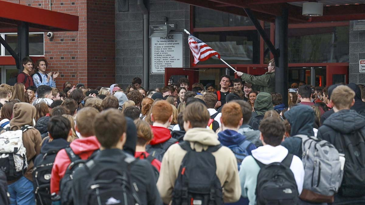 Camas High School students walked out Thursday in protest over comments by Principal Liza Sejkora over the death of Kobe Bryant. Photo by Jacob Granneman