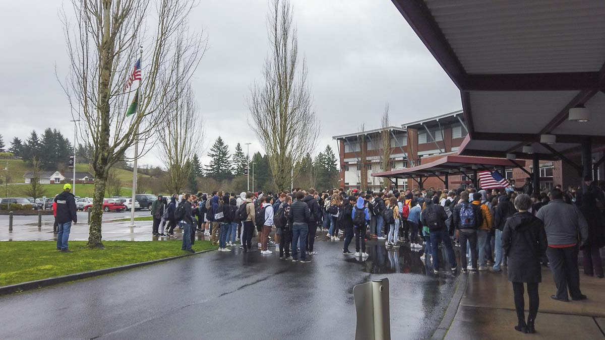 Over a hundred Camas High School students walked out Thursday to protest comments made by Principal Liza Sejkora over the death of Kobe Bryant. Photo by Chris Brown