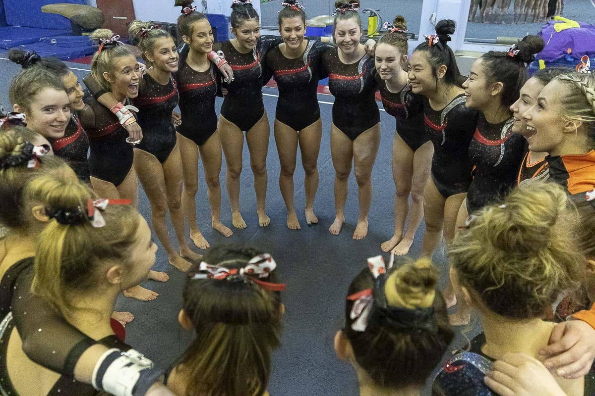 The Camas Papermakers won their third consecutive Class 4A state team gymnastics championship. Photo by Mike Schultz