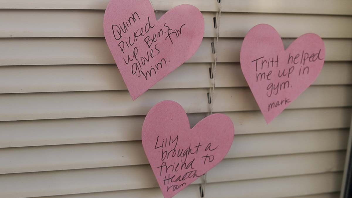 Valentine's hearts are posted on a classroom door at Daybreak School in Battle Ground. Photo by Chris Brown