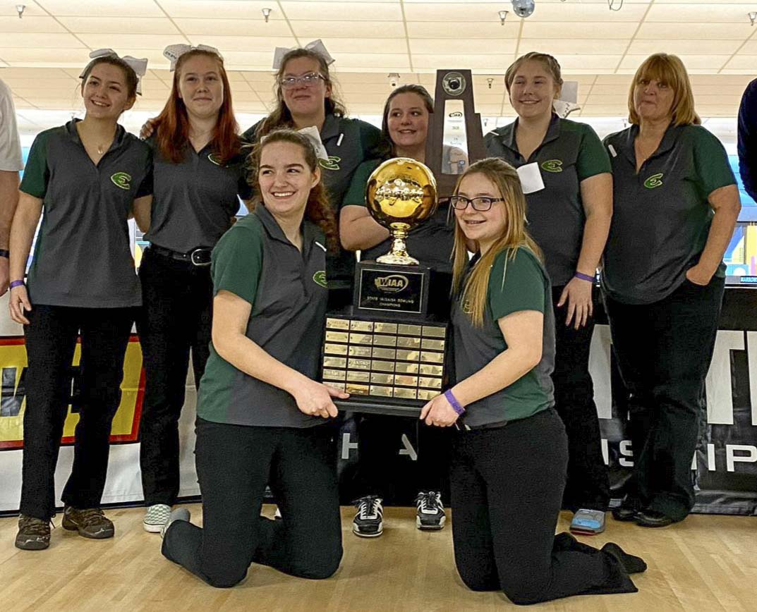 The Evergreen Plainsmen won their fourth consecutive Class 3A state bowling championship Saturday in University Place. Photo courtesy of the WIAA