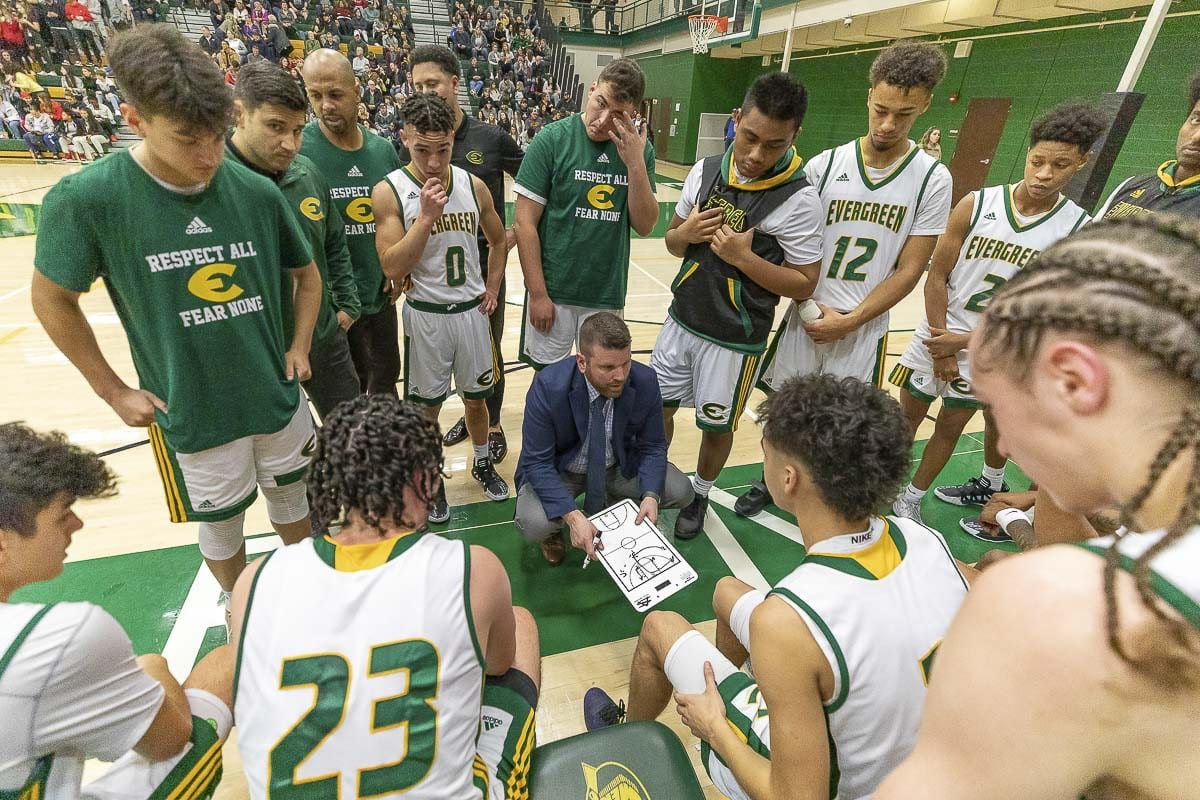 The Evergreen Plainsmen, shown here earlier this season, improved to 20-2 with a 75-70 OT win over Mount Tahoma on Thursday in the semifinals of the 3A bi-district boys basketball tournament. Photo by Mike Schultz