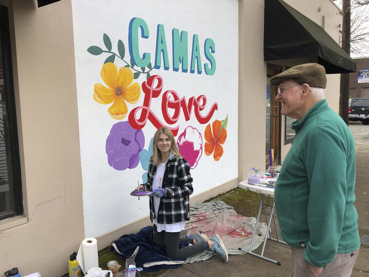 Hailee Parman will be the featured artist at Papermaker Pride. Hailee is a senior at Camas High School and painted the Camas Love mural on 5th Avenue as part of her senior project. Photo courtesy of Downtown Camas Association
