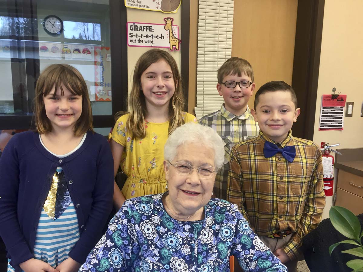 Highgate Senior Living seniors recently visited the classroom of their fourth grade friends at South Ridge Elementary School. Photo courtesy of Ridgefield Public Schools