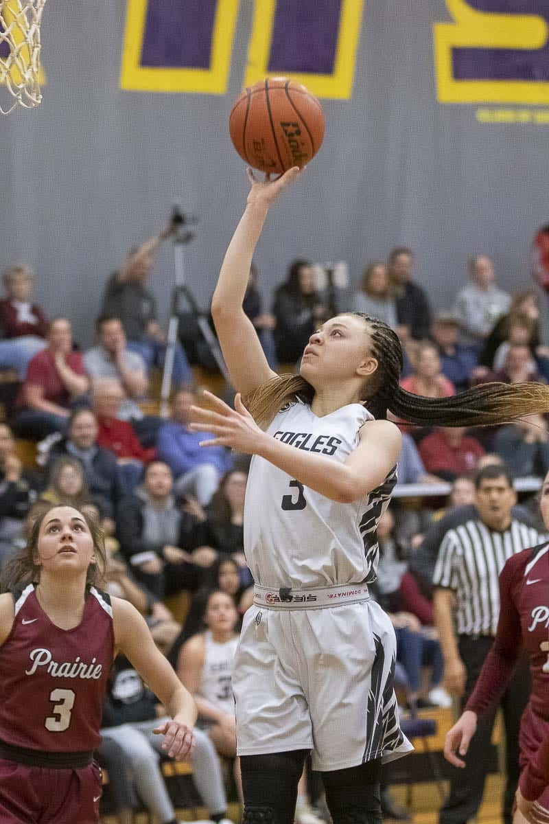 Paytin Ballard scored 14 points for Hudson's Bay, including four in the fourth quarter to give the Eagles a 13-point lead. The Eagles needed that cushion, winning by one point. Photo by Mike Schultz