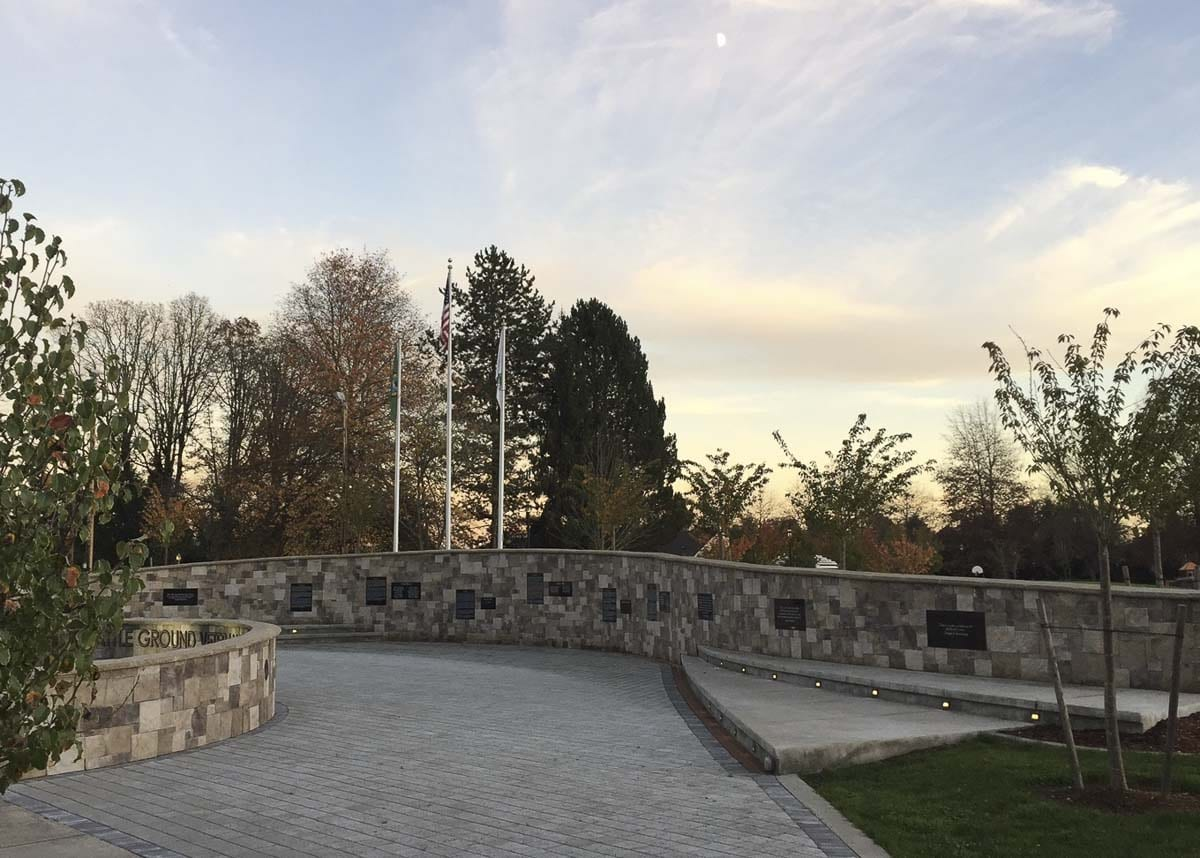 The Battle Ground Veterans Memorial, located in Battle Ground's Kiwanis Park, was fully funded and constructed by donations -- evidence of the community's commitment to recognizing those who serve. Photo courtesy of city of Battle Ground
