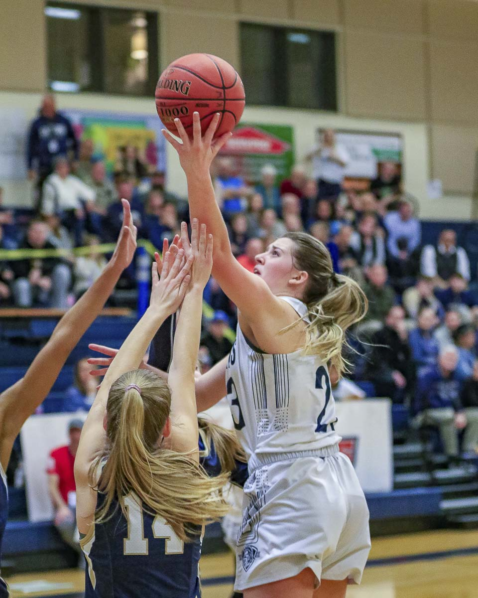 Abby Cummins scored 15 points to lead King's Way Christian to a 48-40 victory over rival Seton Catholic on Friday. Photo by Mike Schultz