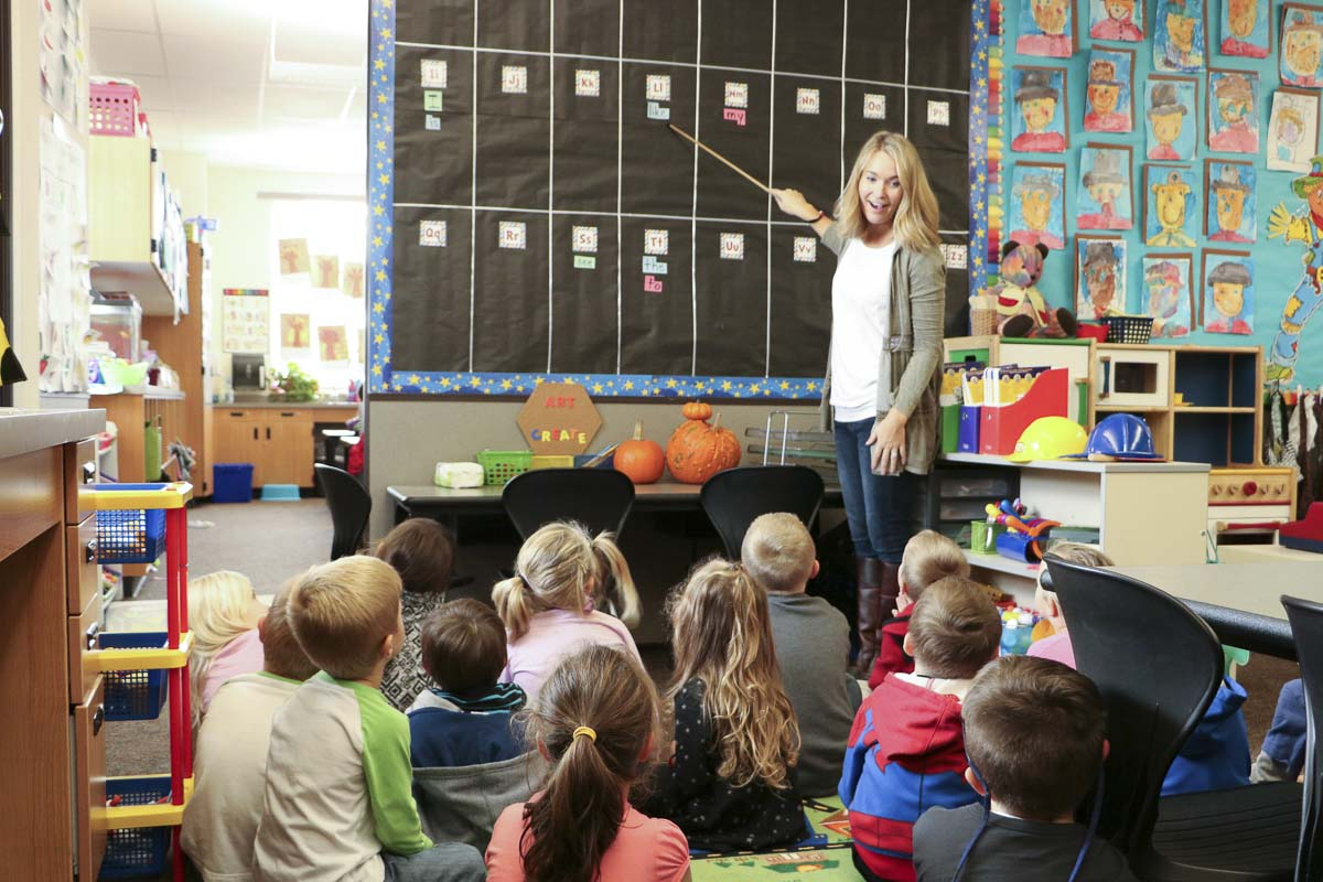 Kindergarten students at Tukes Valley Primary get a lesson from teacher Meadowlark Clark. Photo courtesy of Battle Ground Public Schools