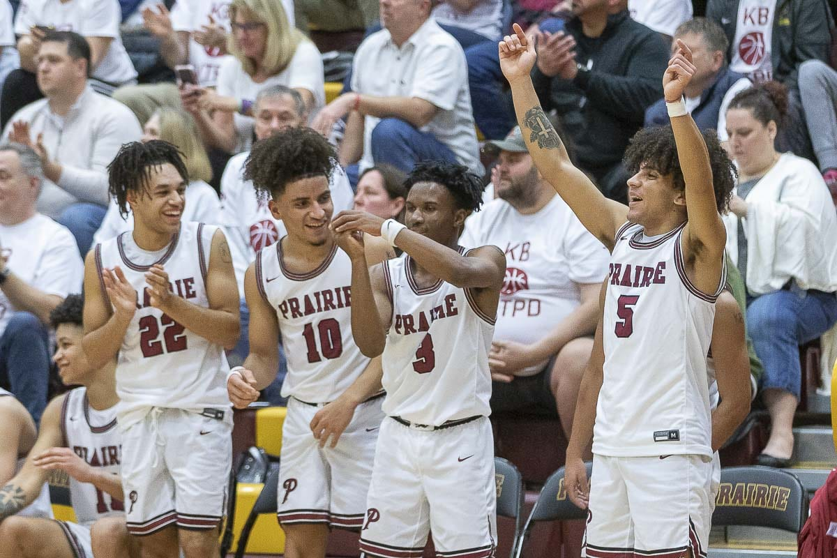 Members of the Prairie Falcons had plenty of opportunities to celebrate during Thursday's 76-52 win over Timberline at Prairie High School. Photo by Mike Schultz