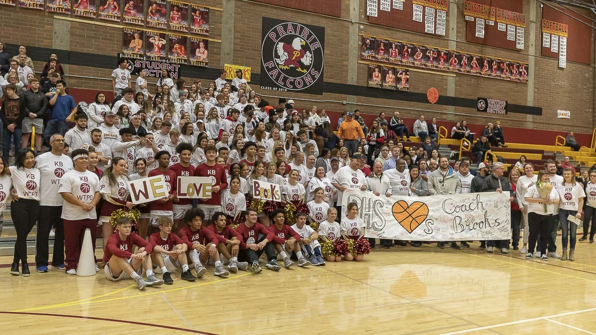 Prairie High School students, staff and community members gathered to honor Falcons coach Kyle Brooks Thursday night. Photo by Mike Schultz