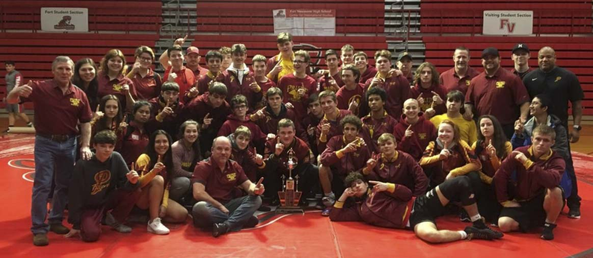 The Prairie Falcons won the 3A Greater St. Helens League in wrestling, the first league title in program history. Photo courtesy Prairie wrestling