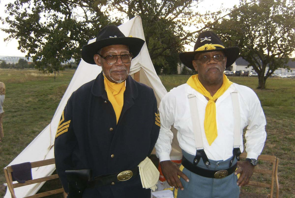 February CCHM Speaker Series presenter Frazier Raymond (right) stands with the late Bill Morehouse, founding member of the Buffalo Soldiers - Moses Williams Pacific Northwest Chapter. Photo courtesy of Clark County Historical Museum