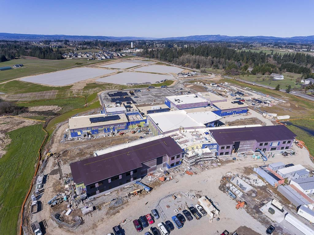 The Ridgefield Schools View Ridge/Sunset Ridge intermediate campus under construction in 2018. Photo by Mike Schultz