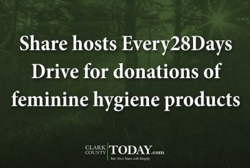 Share hosts Every28Days Drive for donations of feminine hygiene products