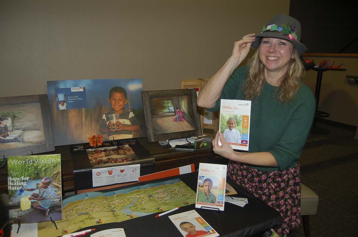 Stephanie Callsen, with World Vision, is shown at the March First Friday 2019 event. Photo courtesy of Downtown Camas Association