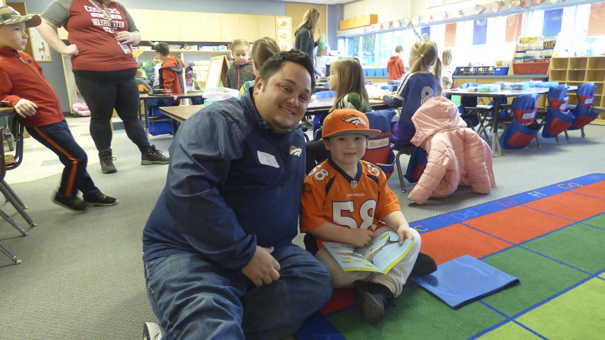 Cooper Miller and his dad in Josie Bleth's kindergarten class at Union Ridge Elementary School. Photo courtesy of Ridgefield Public Schools