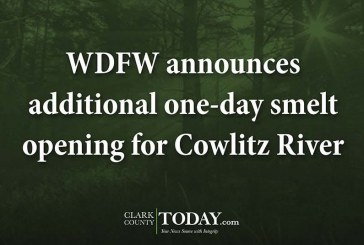 WDFW announces additional one-day smelt opening for Cowlitz River