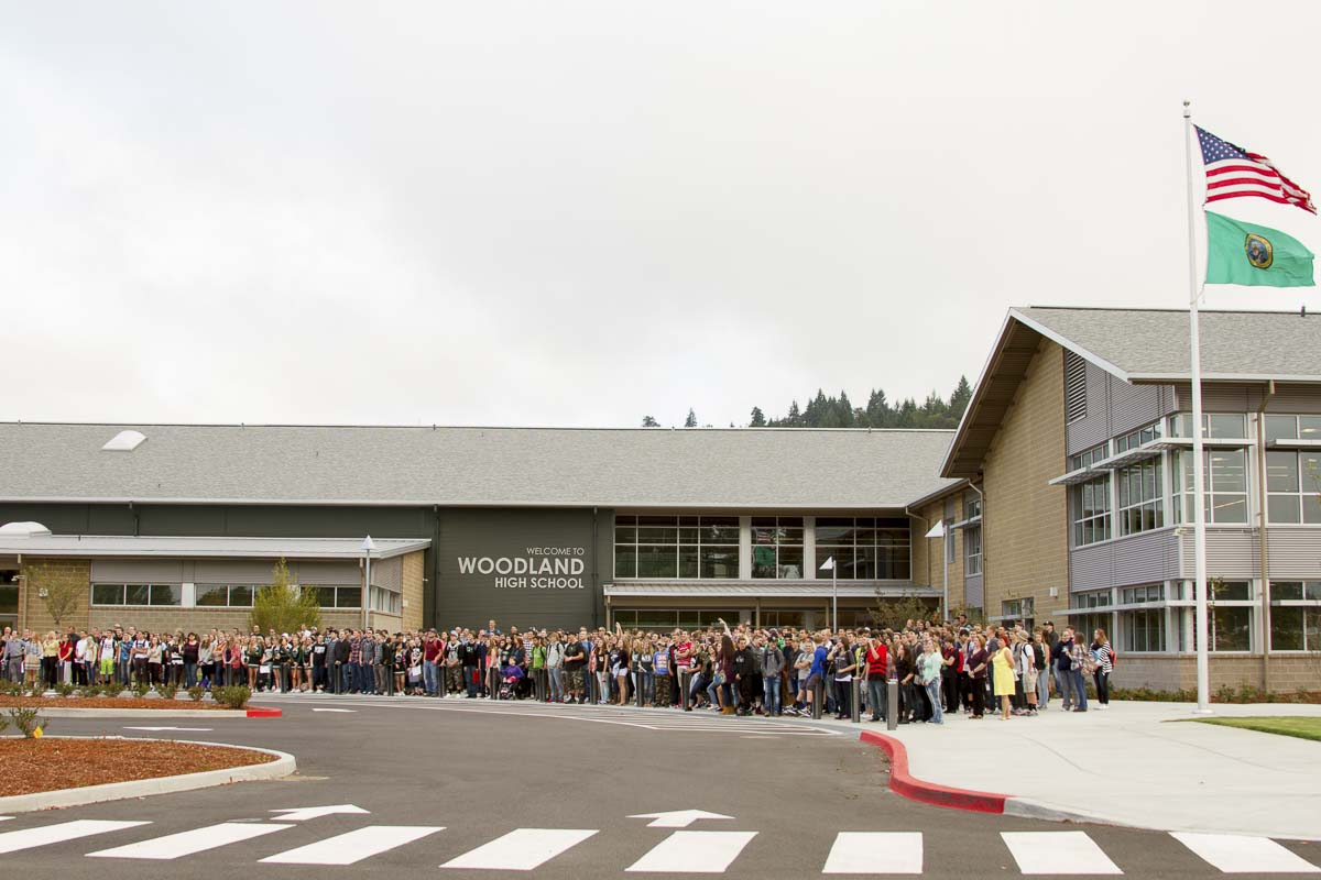 The upcoming Reunification Drill at Woodland Public Schools, including Woodland High School (pictured here), will be coordinated with law enforcement, first responders, and the Cowlitz Emergency Operations Center