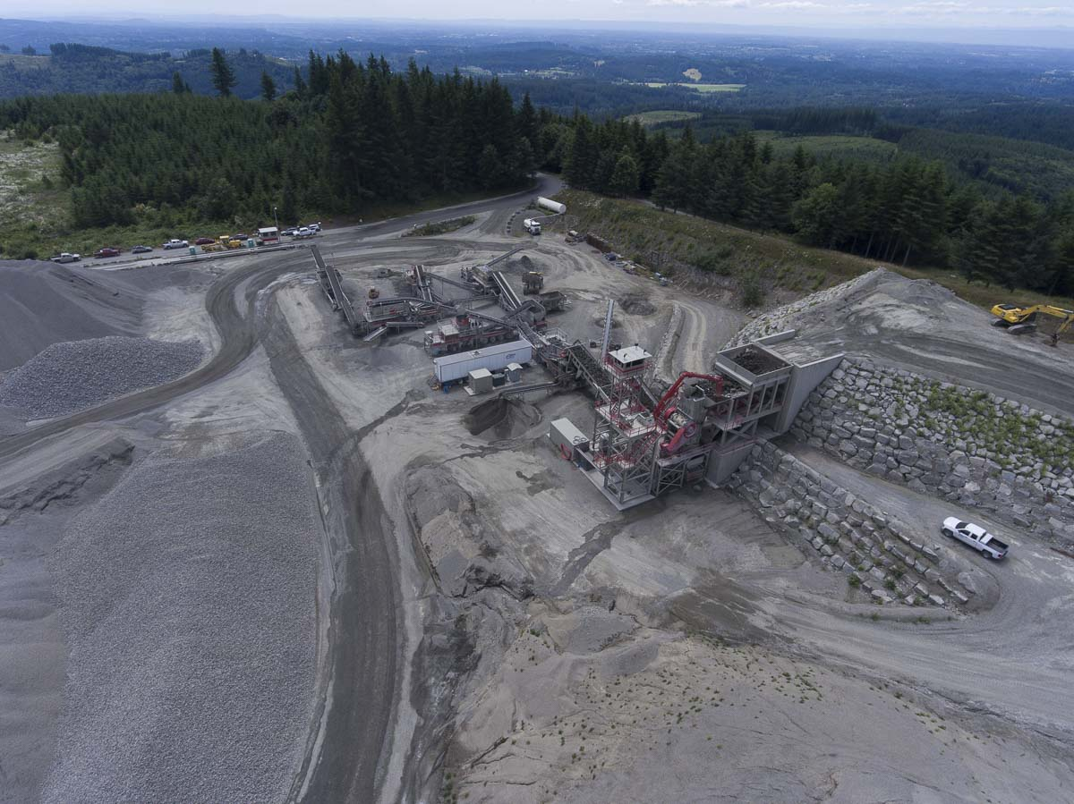 The crushing operation at Yacolt Mountain Quarry as seen from the air. The crusher at Yacolt Mountain is not enclosed like the operation at Cadman's Lewisville pit. Photo by Mike Schultz