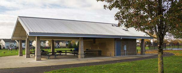 Park picnic shelters provide comfortable spaces to host birthday parties, family get-togethers, office parties and other outdoor fun. Additional park amenities include playgrounds, restrooms, sports fields or courts, and walking paths. Photo courtesy of city of Vancouver