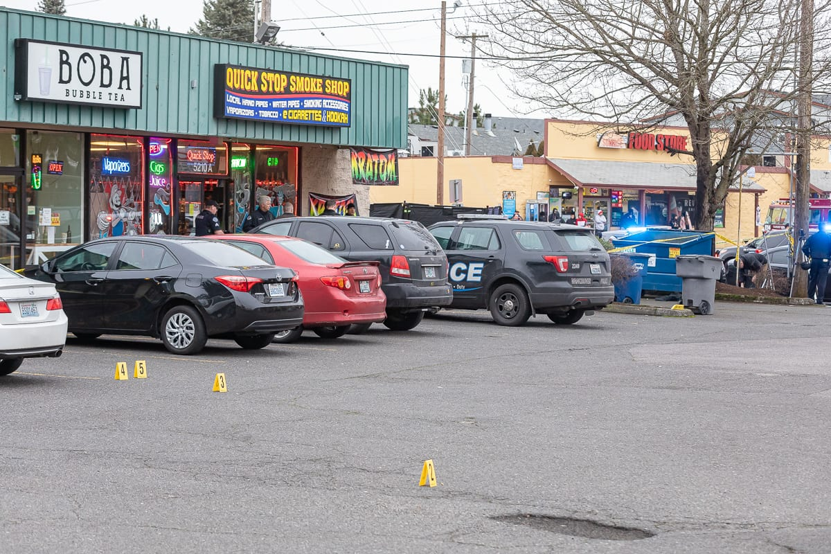 Shell casings litter the parking lot of a strip mall on Fourth Plain at Stapleton Road after a deadly shooting Tuesday afternoon. Photo by Mike Schultz