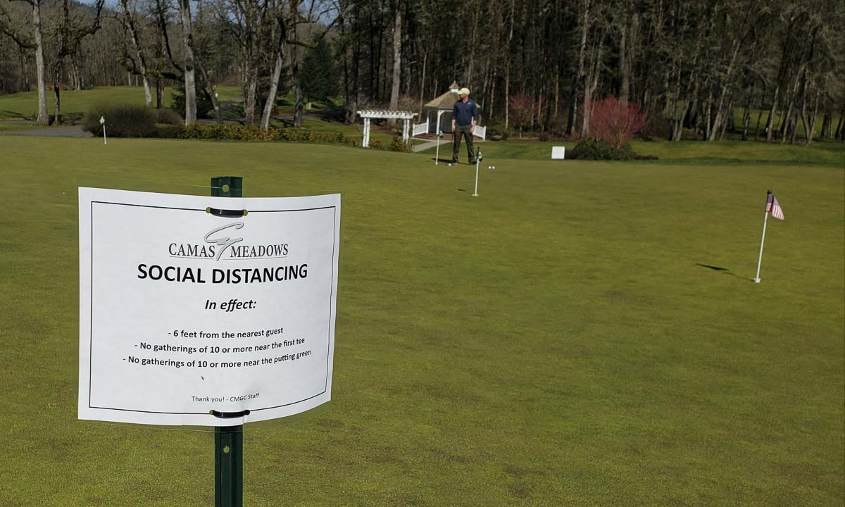 Signs are posted throughout the grounds at Camas Meadows Golf Course to remind players to be safe. Photo by Paul Valencia
