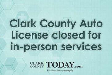 Clark County Auto License closed for in-person services