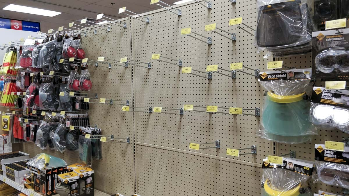 Dust masks are sold out all over town, including at this Harbor Freight at Vancouver Plaza as people gear up for a possible coronavirus outbreak. Photo by Chris Brown