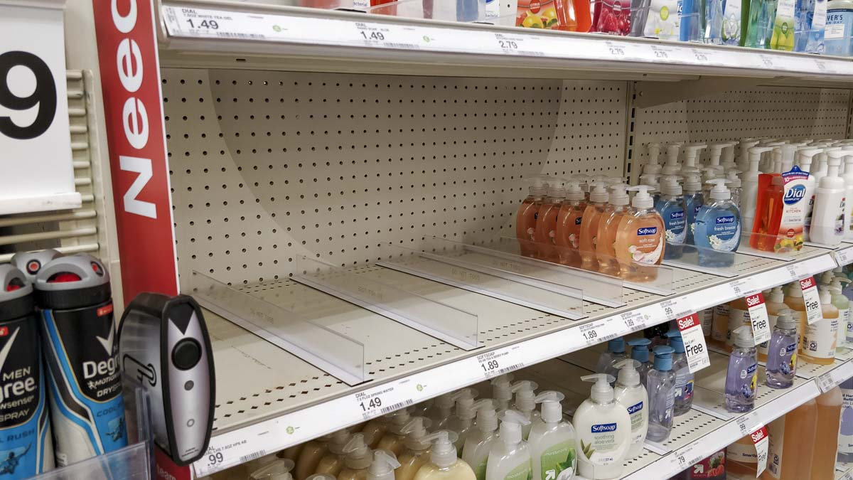 Hand sanitizer and hand soap were in short supply at the Vancouver Plaza Target location. Photo by Chris Brown