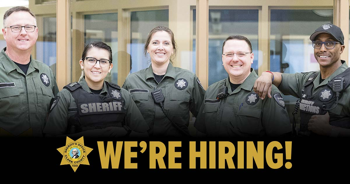 The Clark County Sheriff's Office Corrections Branch is holding a hiring workshop for applicants interested in a career as a corrections deputy. Photo courtesy of Clark County Sheriff's Office