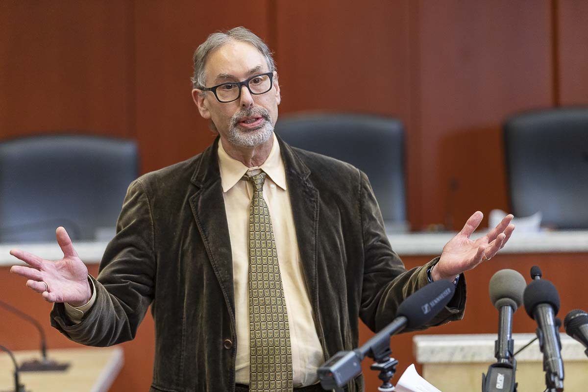 Dr. Alan Melnick, Clark County Public Health officer, speaks at a press conference on March 13. Photo by Mike Schultz