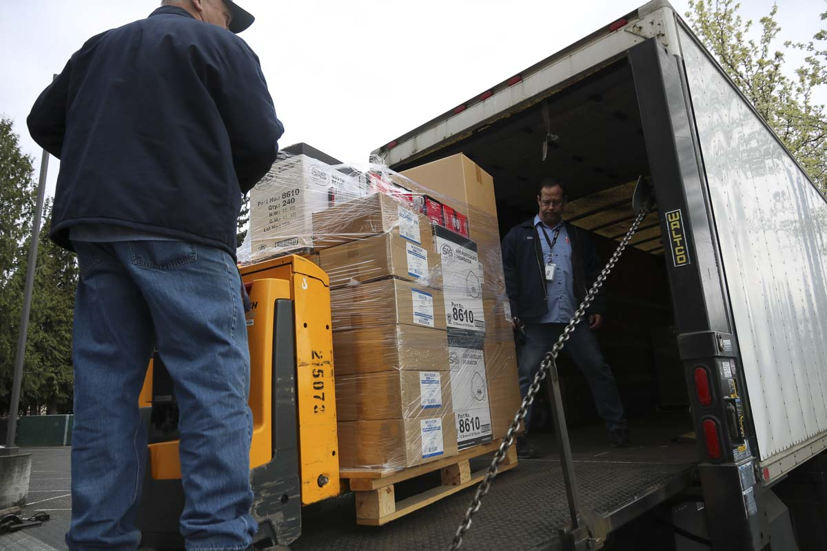 Boxes of medical supplies donated by Evergreen Public Schools arrive at a warehouse set up by CRESA. Photo courtesy Evergreen Public Schools