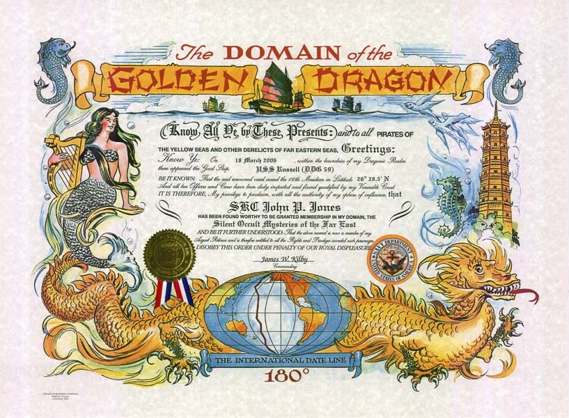 The Domain of the Golden Dragon certificate. Photo courtesy Columbia River Maritime Museum