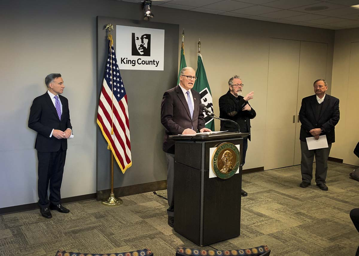 Washington Gov. Jay Inslee speaks at a press conference on March 16. Photo courtesy Gov. Jay Inslee's office