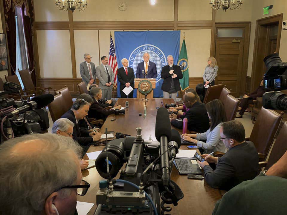 Washington Gov. Jay Inslee is shown here at a press conference in March. Photo courtesy Gov. Jay Inslee's office