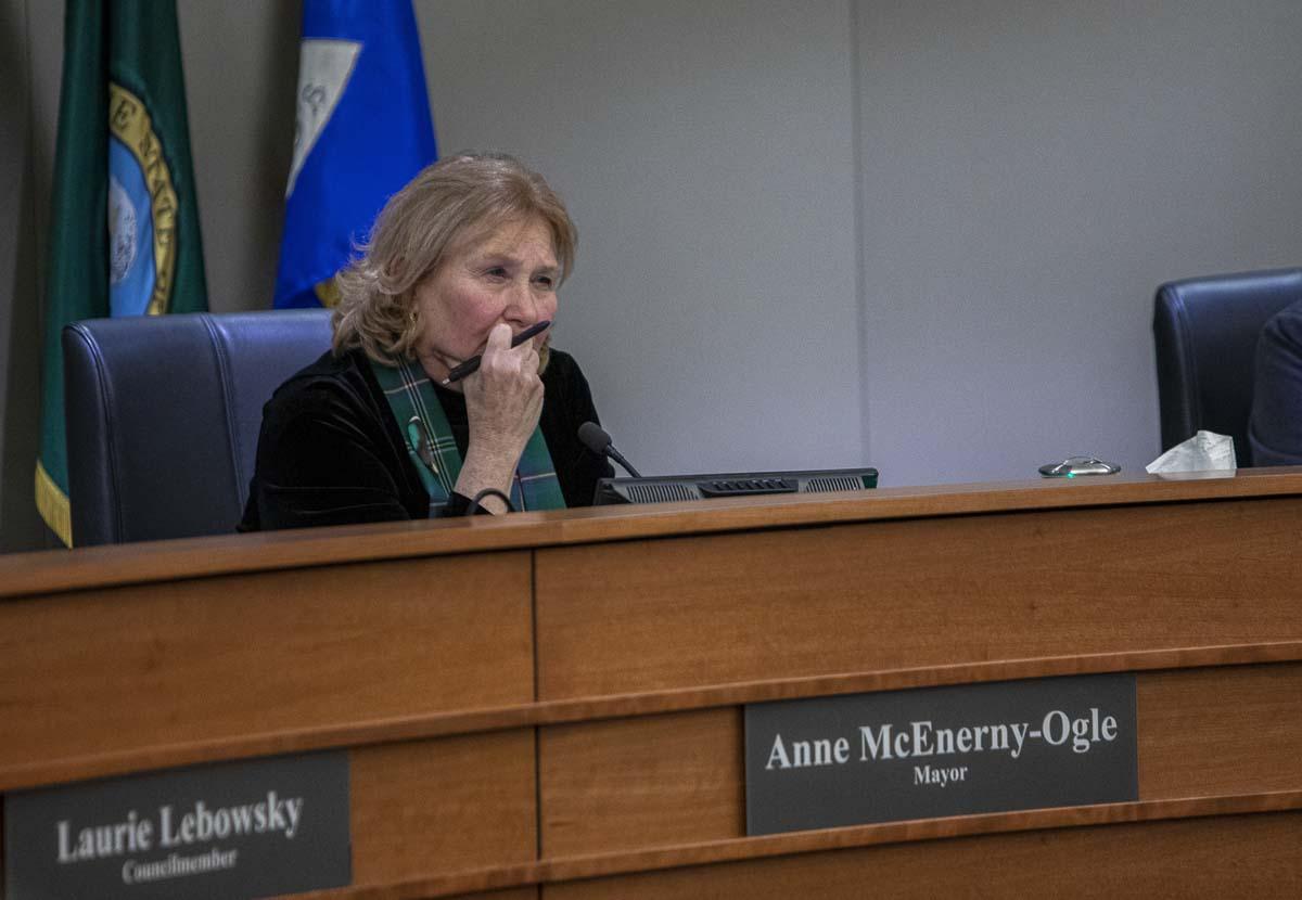 Vancouver Mayor Anne McEnerny-Ogle listens during a citizen's forum on Stronger Vancouver last November. Photo by Jacob Granneman