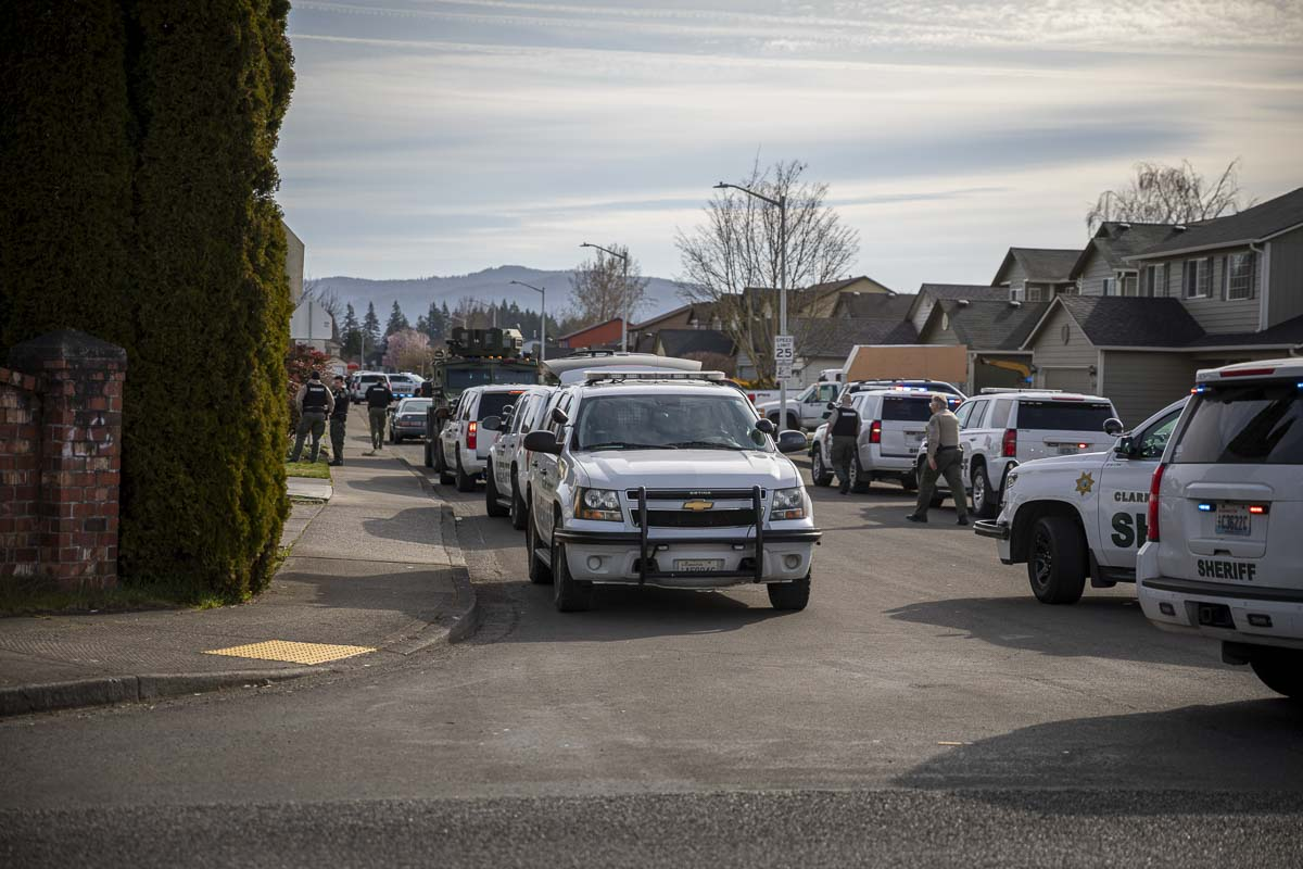 There was a heavy police response this morning after a dispute between neighbors led to a shooting near York Elementary school. Photo by Jacob Granneman