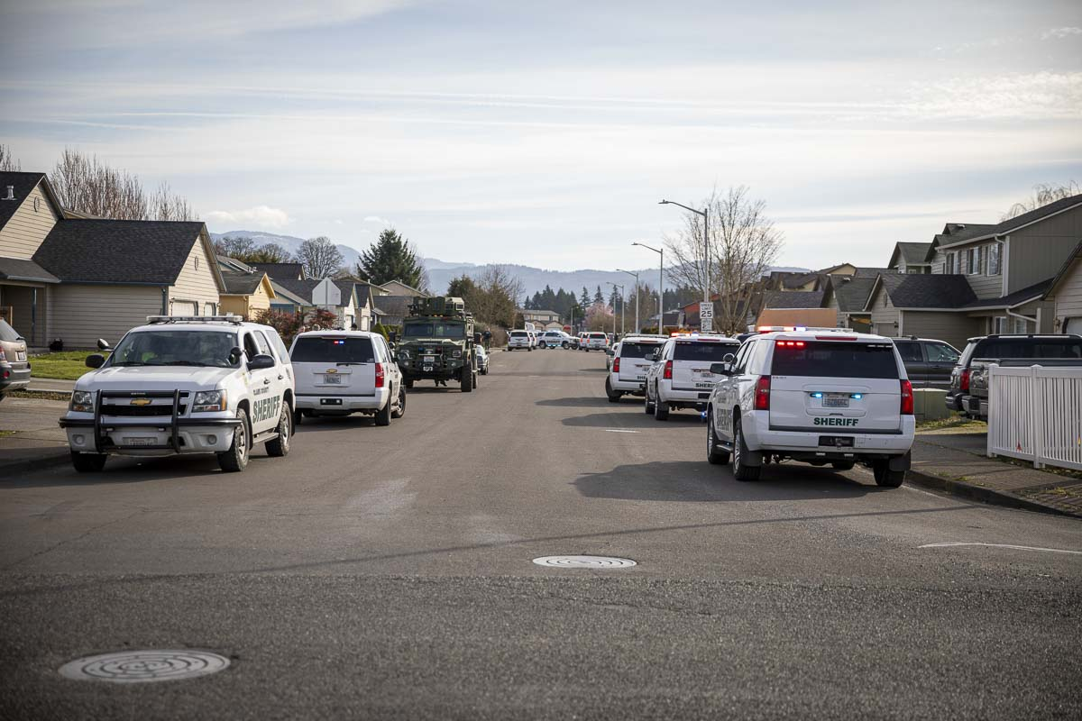 Armored CCSO vehicles responded to a shots fired call after a dispute between neighbors this morning near Northeast 91st Street and 152nd Avenue. Photo by Jacob Granneman