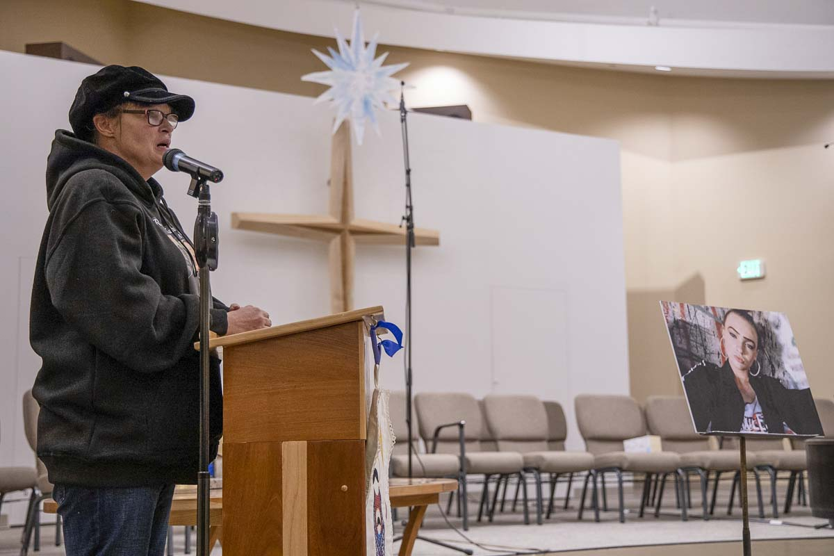 Nikki Kuhnhausen's mother, Lisa Woods, speaks at a vigil for the slain transgender teen last December. Photo by Chris Brown