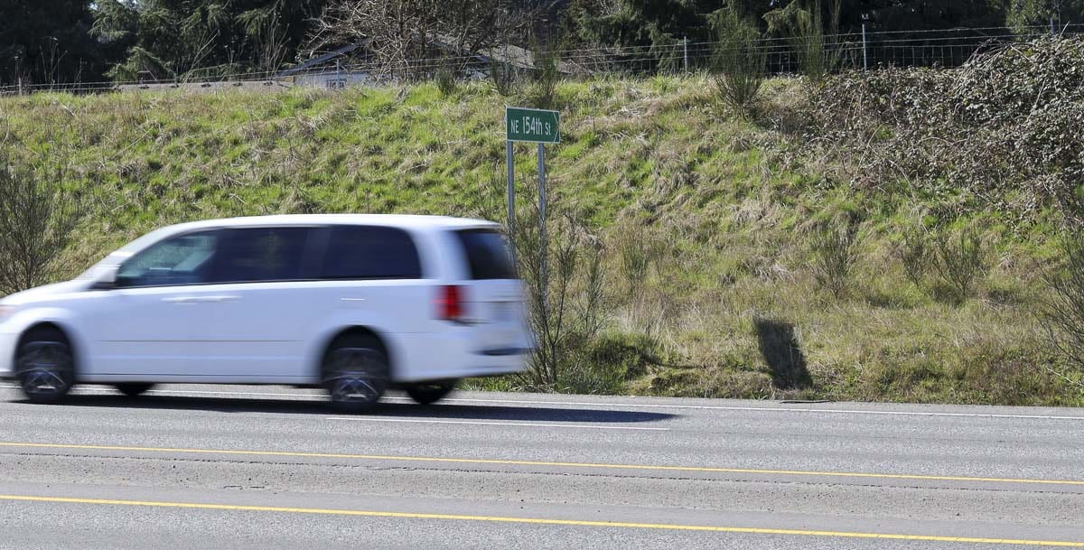 A van passes 154th Avenue on SR-503. A concrete barrier is set to be installed this Spring starting from here, north to SR-502 in Battle Ground. Photo by Chris Brown