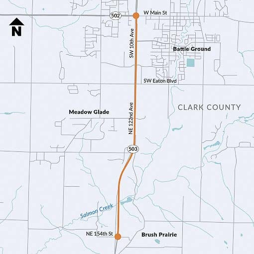This map shows the stretch of SR-503 slated to have concrete barriers installed in the median starting this Spring. Image courtesy Washington Department of Transportation