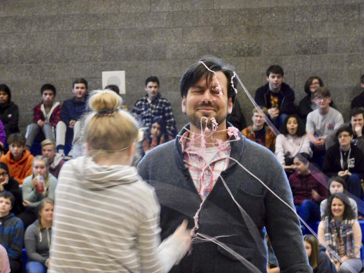 Teacher James Stevens gets covered in Silly String. Photo courtesy of Ridgefield Public Schools
